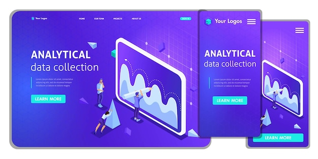 Website template landing page isometric concept analytical data collection, teamwork. easy to edit and customize, adaptiive.