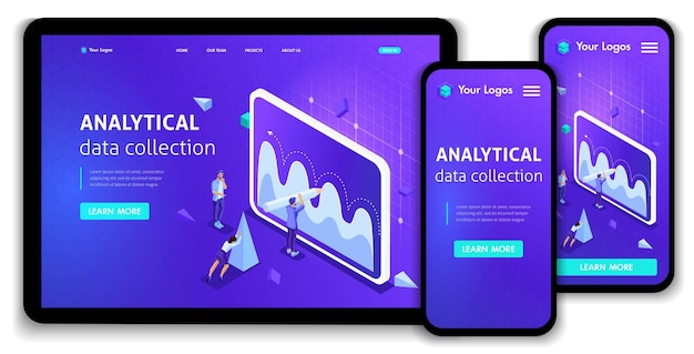 Website template landing page isometric concept analytical data collection, teamwork. easy to edit and customize, responsive ui ux.