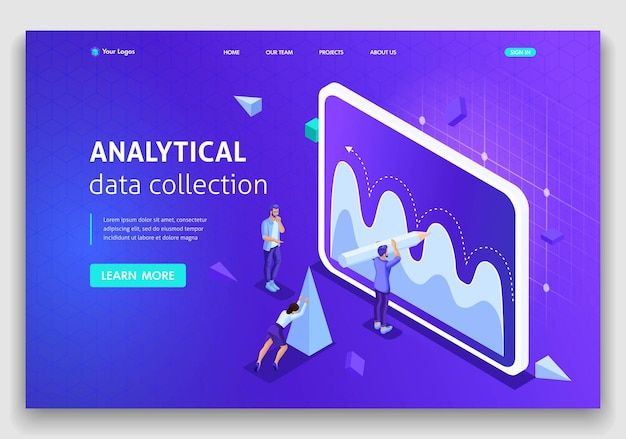 Website template landing page isometric concept analytical data collection, teamwork. easy to edit and customize.
