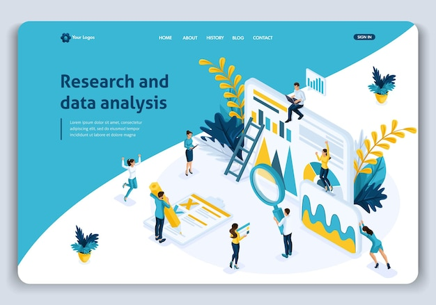 Website template landing page isometric concept business analysis, best statistical tools in research and data analysis. easy to edit and customize.