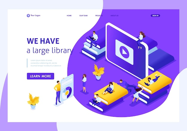 Website template landing page isometric concept choose the right your book in our library. easy to edit and customize.