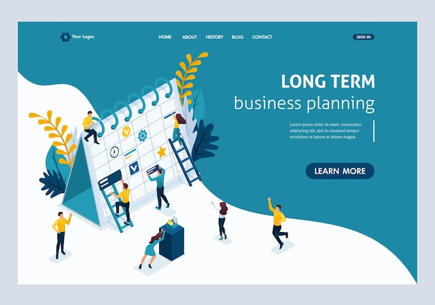 Website template landing page isometric concept creating a long-term business planning strategy. easy to edit and customize.