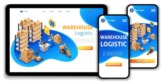 Website template landing page isometric concept customer service, delivery service, warehouse logistic, trucking, support 24 7. easy to edit and customize.