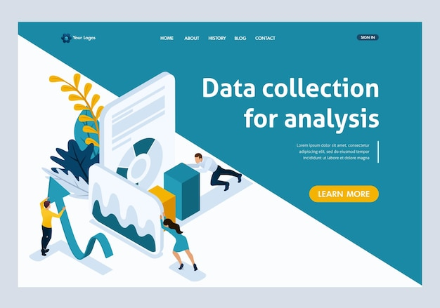 Website template landing page isometric concept data collection for analysis, people in work. easy to edit and customize.