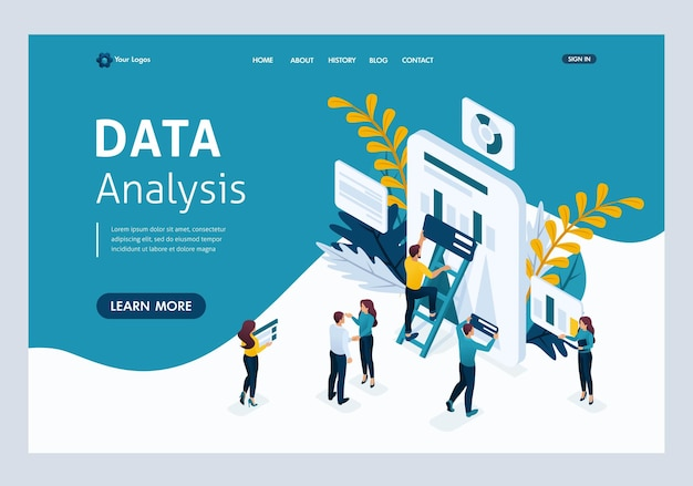 Website template landing page isometric concept data collection by workers, the process of analyzing data on the tablet. easy to edit and customize.
