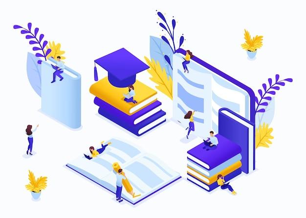 ウェブサイトテンプレートランディングページ2番目の高等教育、自習、高度なトレーニングのためのアイソメトリックコンセプトのeラーニング。編集とカスタマイズが簡単です。