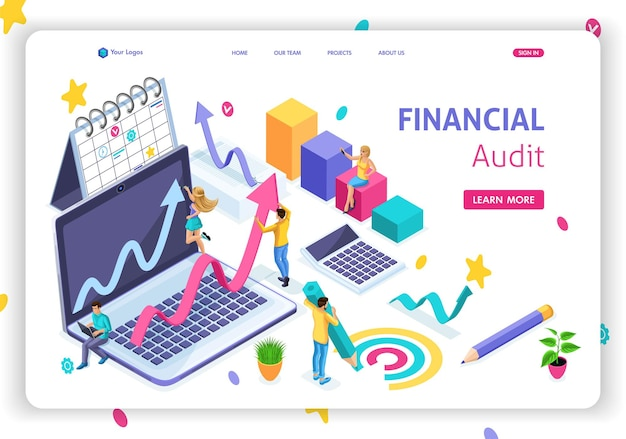 Website template landing page isometric concept financial management, financial audit, planning and strategy. easy to edit and customize.