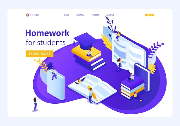 Website template landing page isometric concept homework for e-learning students, read and write using gadgets. easy to edit and customize-01.