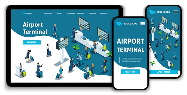 Website template landing page isometric concept international airport, airport terminal, baggage reclaim, business trip. easy to edit and customize, adaptiive ui ux.