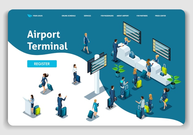Website template landing page isometric concept international airport, airport terminal, baggage reclaim, business trip. easy to edit and customize.