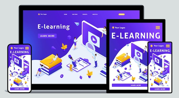 Website template landing page isometric concept library, encyclopedia, e-learning, education, media library or web archive. easy to edit and customize, adaptiive.