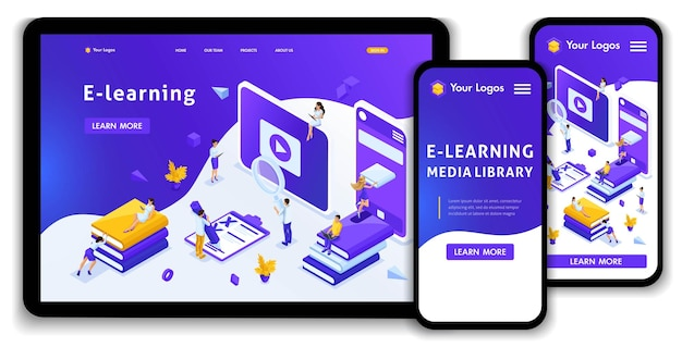 Website template landing page isometric concept library, encyclopedia, e-learning, education, media library or web archive. easy to edit and customize, adaptive.