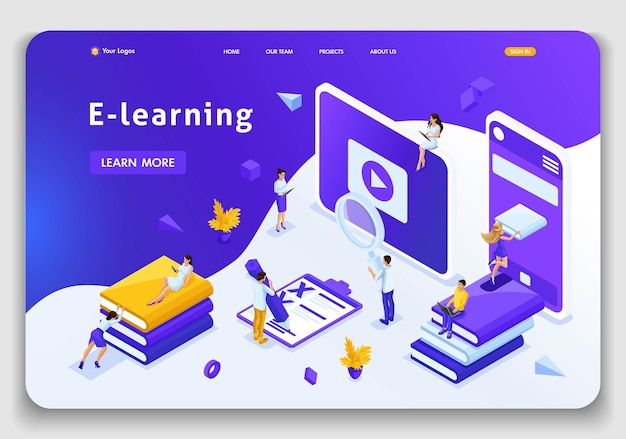 Website template landing page isometric concept library, encyclopedia, e-learning, education, media library or web archive. easy to edit and customize.