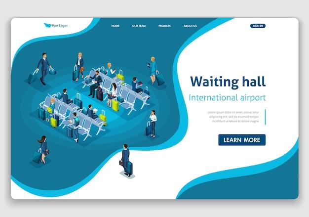 Шаблон веб-сайта целевая страница изометрическая концепция пассажиры в зале ожидания, международный аэропорт, деловая поездка. легко редактировать и настраивать.