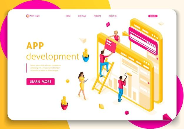 ウェブサイトテンプレートランディングページアイソメトリックコンセプト人々のチームはウェブ業界で協力しています。アプリ開発。編集とカスタマイズが簡単です。