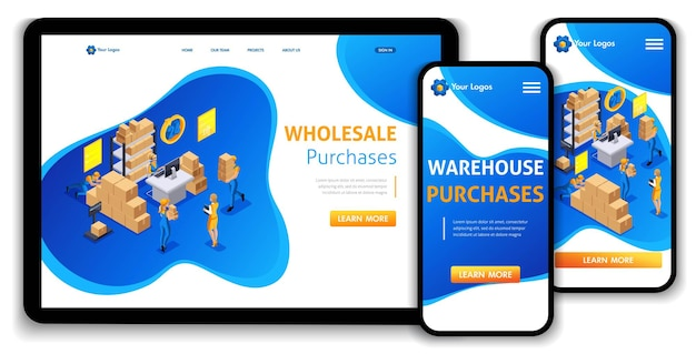 Website template landing page isometric concept warehouse workflow, wholesale purchases, trucking, support 24 7. easy to edit and customize, adaptiive ui ux.