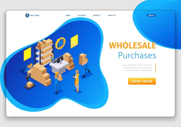 Website template landing page isometric concept warehouse workflow, wholesale purchases, trucking, support 24 7. easy to edit and customize.