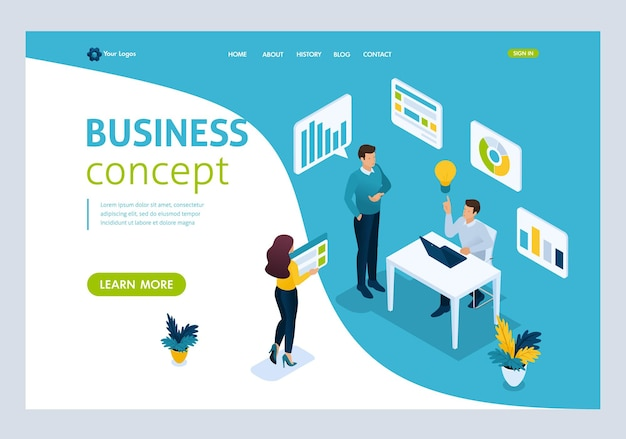 Website template landing page isometric concept we bring the idea to life, idea creation, implementation. easy to edit and customize, ui ux
