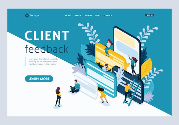 웹사이트 템플릿 방문 페이지 아이소메트릭 개념 젊은 기업가, 고객 리뷰 및 의견. 쉽게 편집하고 사용자 정의할 수 있습니다.