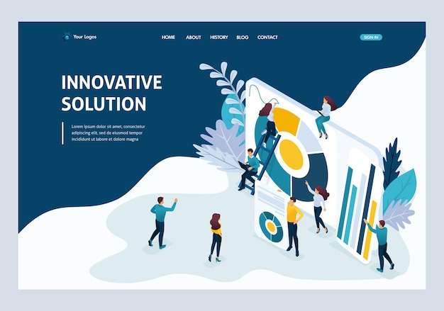 Website template landing page isometric concept young entrepreneurs, marketing research, innovative solution. easy to edit and customize.