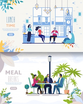 Website template or landing page. lunching businesspeople