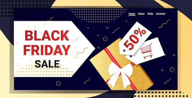Website template or landing page with black friday sale theme