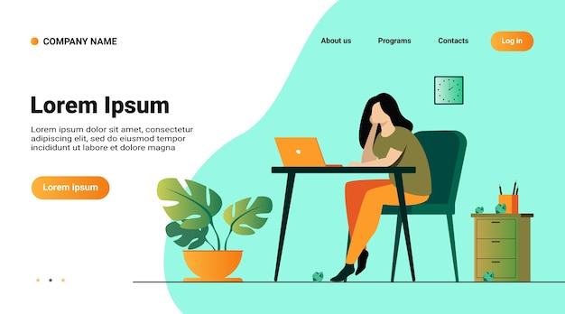 Website template, landing page with illustration of cartoon exhausted woman sitting and table and working isolated flat vector illustration