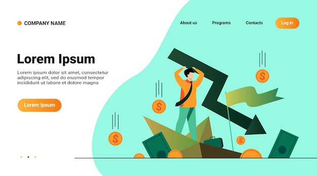 Website template, landing page with illustration of cartoon man holding arrow falling down isolated flat vector illustration