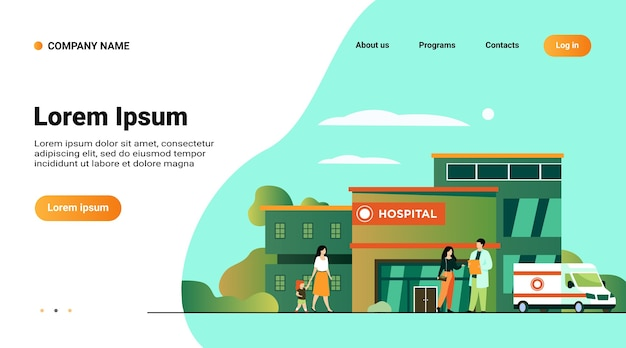 Website template, landing page with illustration of city hospital building