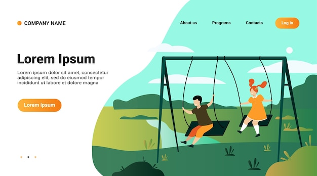 Website template, landing page with illustration of cute girl and boy swinging and enjoying holiday isolated flat vector illustration
