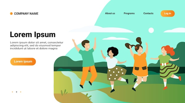 Website template, landing page with illustration of diversity and childhood concept