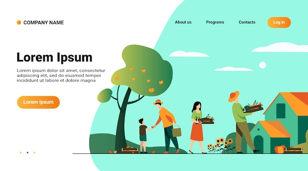 Website template, landing page with illustration of farming and agriculture concept