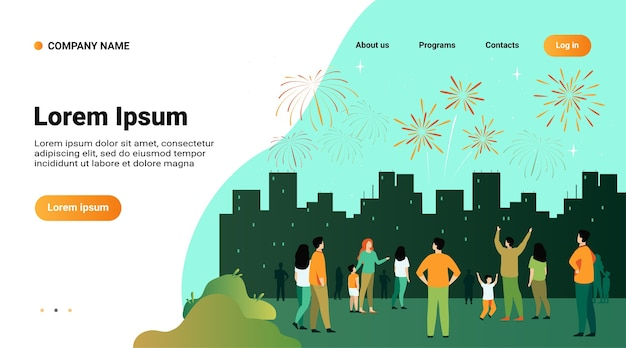 Website template, landing page with illustration of festive city night concept