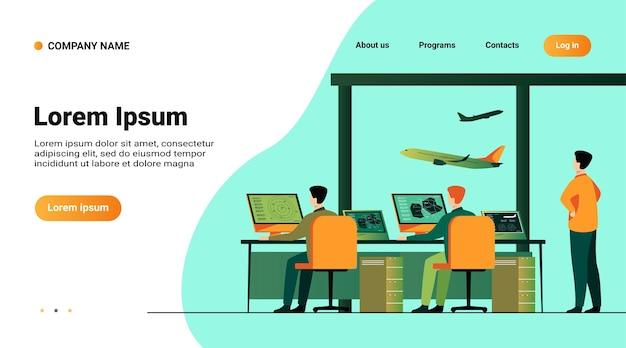 Modello di sito web, pagina di destinazione con illustrazione del centro di controllo del volo isolato piatto illustrazione vettoriale