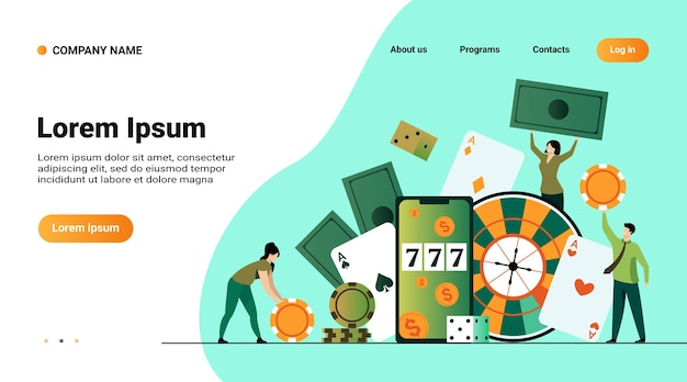 Modello di sito web, pagina di destinazione con illustrazione di gente minuscola felice che gioca nell'illustrazione piana di vettore isolata casinò in linea