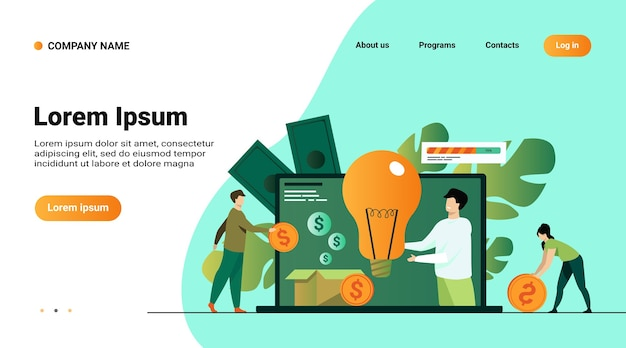 Website template, landing page with illustration of investment and crowdfunding concept