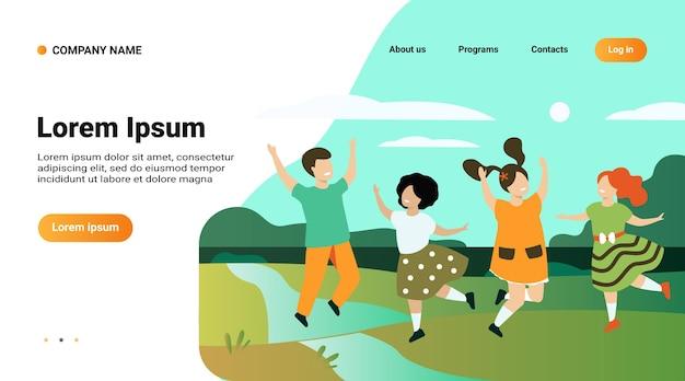 ウェブサイトのテンプレート、多様性と子供時代のコンセプトのイラスト付きのランディングページ