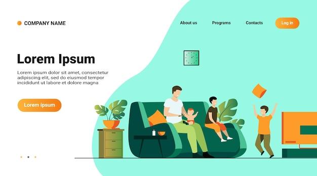 ウェブサイトのテンプレート、家族と親の概念のイラスト付きのランディングページ