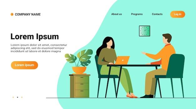 ウェブサイトのテンプレート、就職の面接の会話のイラスト付きのランディングページ。人事マネージャーと従業員候補者の会議と話し合い