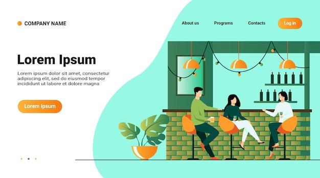 Шаблон веб-сайта, целевая страница с иллюстрацией досуга в концепции бара