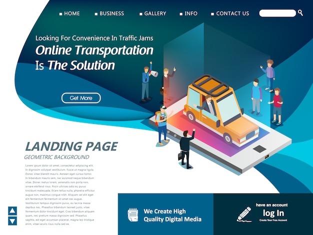 Website template for modern technology of transportation