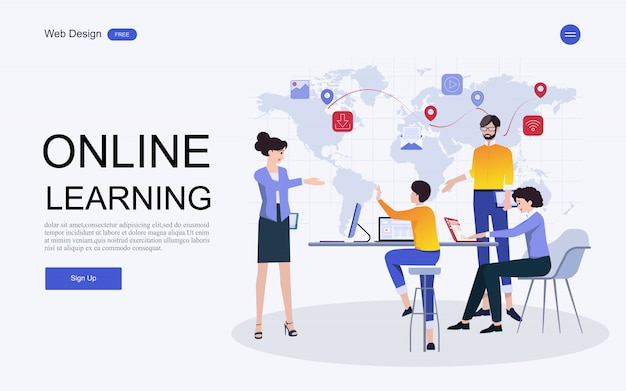 Website template online education, training and courses.