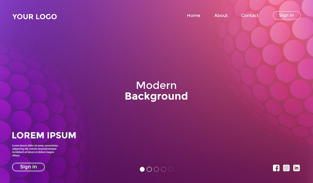 Website template pink with shape geometric background