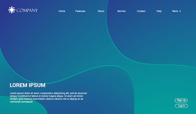 Website template for websites, or apps. liquid fluid waves gradient minimal modern