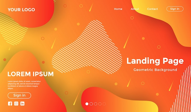 Website template with colorful geometric background