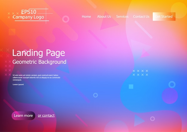 Website template with colorful  geometric shape background