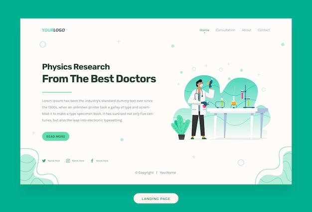 Шаблон веб-сайта с иллюстрацией врача в лаборатории, со столом, химической жидкостью, растениями