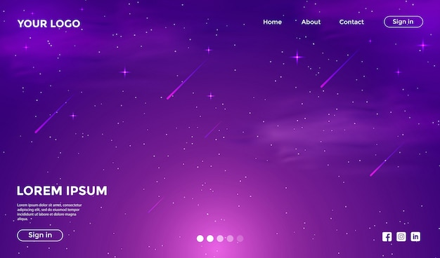 Website template with fantastic galaxy background