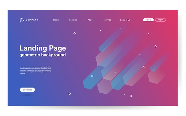 Website template with geometric shape background