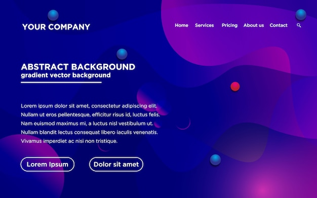 Website template with gradient color